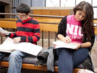 NIU Honors students study in Founders Memorial Library.