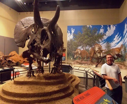 As a graduate student at NIU, Josh Mathews conducted extensive research on the Burpee's new Triceratops, dubbed Homer.