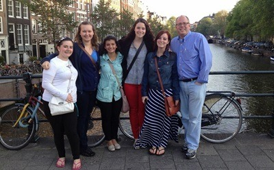 (Left to right) Ashley Palin, Lori Korth, Raquel Chavez, Lauren Nale, Karissa Kessen, and J.D. Bowers alongside one of Amsterdam's many canals.