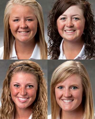 Top row, from left: Connie Ellett and Taylor Ellett. Bottom row, from left: Casey LaBarbera and Allie Parthie.