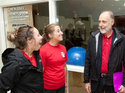 NIU President Doug Baker chats with students during his first move-in day in DeKalb.
