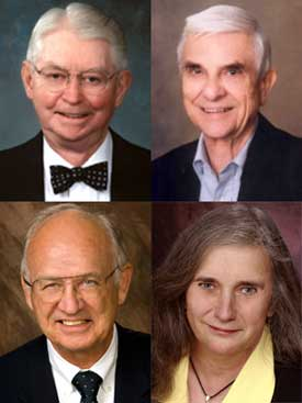 Top: W. Elwood Briles and Sanford J. Dean Bottom: James E. Erman and Lois Self