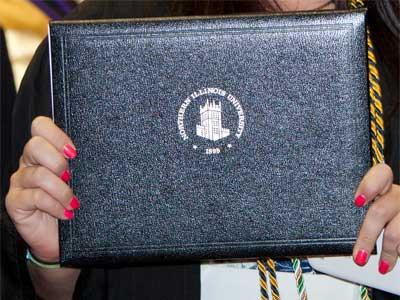 Photo of an NIU diploma
