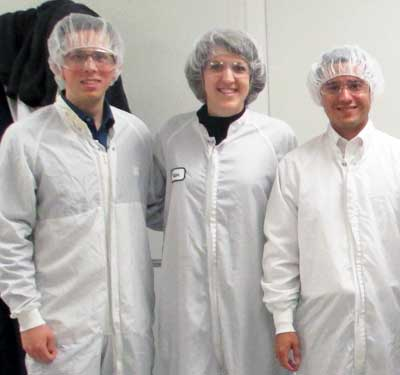 Amanda Emrich (center) with colleagues at GE Healthcare