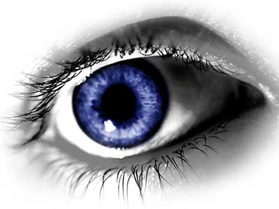 Image of an eyeball with blue iris