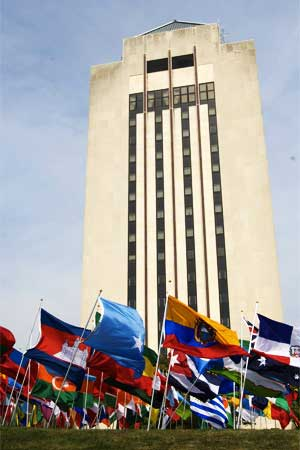International flags in front of Holmes Student Center