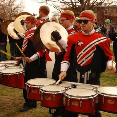Huskie Marching Band drummers
