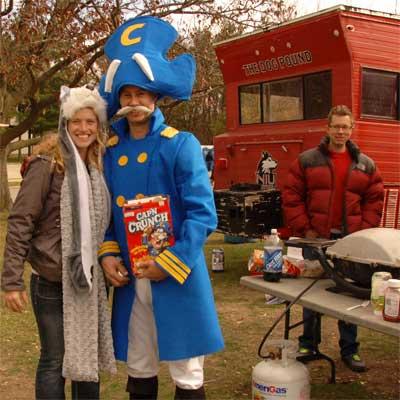 Cap'n Crunch attends an NIU tailgate party