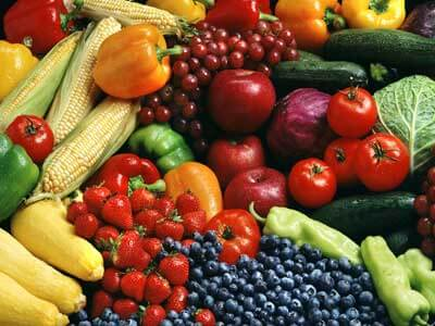 A photo of fruits and vegetables