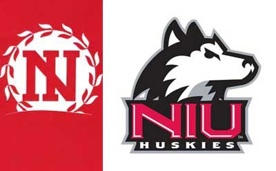 Logos of NIU Huskies and NIU Athletics Hall of Fame