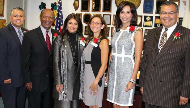 From left: Gilbert Villegas Jr., Jesse White, Neli Vazquez-Rowland, Jennifer Rosato, Lourdes Duarte and Martin Castro.