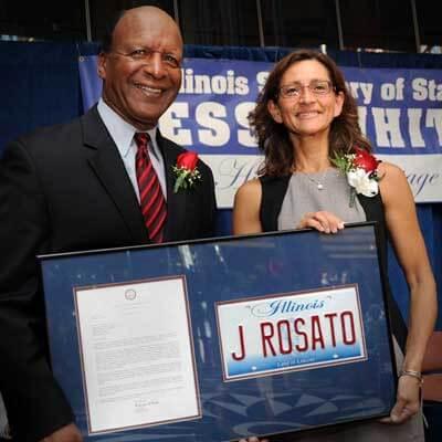 Illinois Secretary of State Jesse White and NIU College of Law Dean Jennifer Rosato