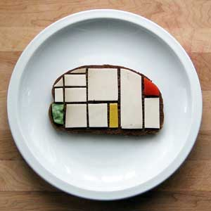 Photo of a sandwich fixed in a Piet Mondrian style