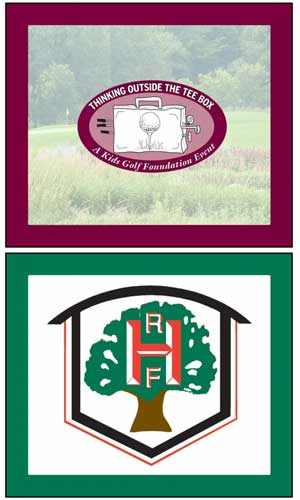 Logos of Kids Golf Foundation Thinking Outside the Tee Box and Rich Harvest Farms