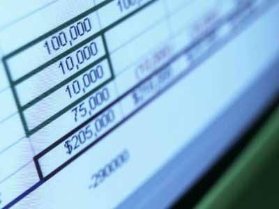 Screen capture of an accounting spreadsheet