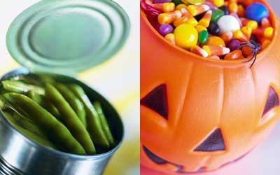 Photo montage of a can of green beans and a plastic pumpkin of candy