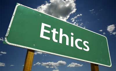 """Photo of the word """"Ethics"""" on a road sign"""