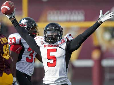 Jhony Faustin celebrates his interception.