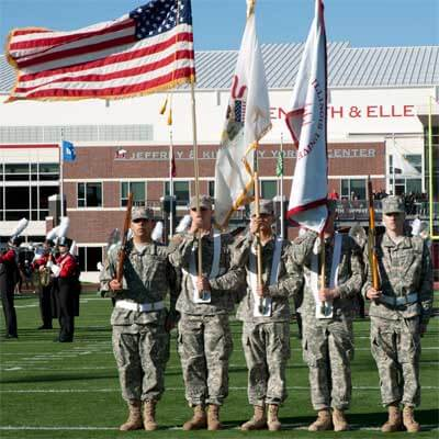 ROTC Color Guard at NIU Huskie Football game