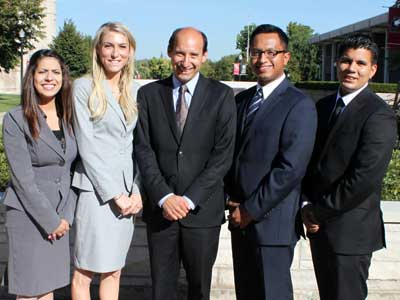NIU College of Law NLLSA Moot Court team members (from left to right): Manar Zayed (3L), Kathryn Guensberg (3L), coach Professor Robert Jones, Irakere Picón (2L), and George Gomez (3L).