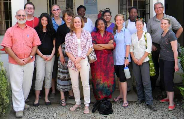 Professor Thurmaier (front row, left), former DeKalb City Manager Mark Biernacki (back row, right) and NIU students visited the Musoma Municipal Council offices during a seminar about local government in Tanzania.