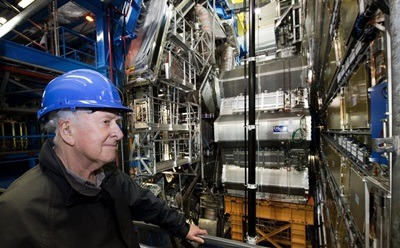 Nobel Laureate Peter Higgs visits the ATLAS detector at CERN. (Photo courtesy of CERN)