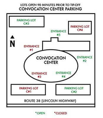 Convocation Center parking map