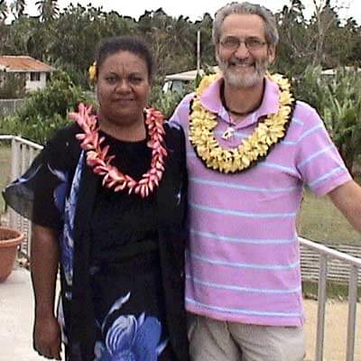 "Giovanni Bennardo typically lives with the same family while doing his research in Tonga. Here he is pictured with his ""adopted sister,"" Nesi Finau."