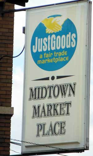 Photo of the Just Goods sign in Rockford