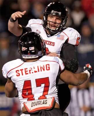 Jordan Lynch celebrates a touchdown
