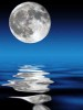Photo of a full moon over water and its reflection