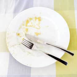 Photo of a dirty plate with fork and knife