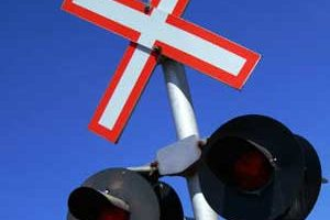 Photo of a railroad crossing signal