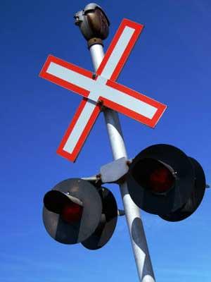 Photo of a railroad crossing signal