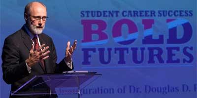 NIU President Doug Baker speaks during his Nov. 13 inauguration.