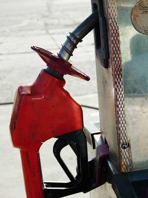 Photo of a gasoline pump handle