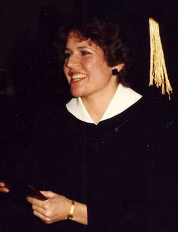 Karen Joens Johnson graduates from NIU in December of 1985.