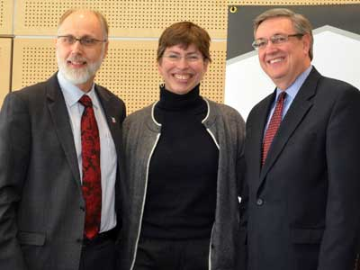 NIU President Doug Baker, Lt. Gov. Sheila Simon and Kishwaukee College President Tom Choice
