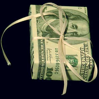 Photo of a giftwrapped $100 bill