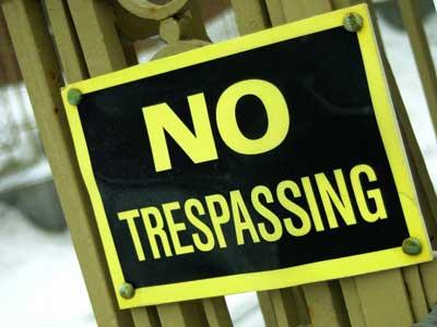 Photo of a NO TRESPASSING sign
