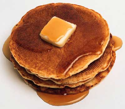 A photograph of pancakes