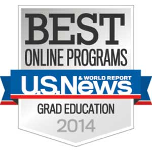 U.S. News & World Report badge: Best Online Programs Grad Education 2014