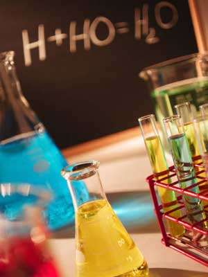 Photo of beakers full of chemicals