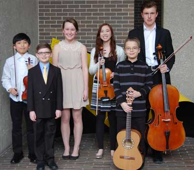 Joon Park, Reilly Farrell, Emma Olson, Madeline Alvendia, Karl Peterson and Kjelden Breidenbach, this year's NIU Community School of the Arts talent scholarship winners, performed Feb. 15 at the Honors Recital.