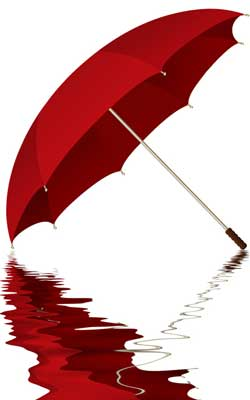 Photo of a red umbrella and its reflection in a puddle