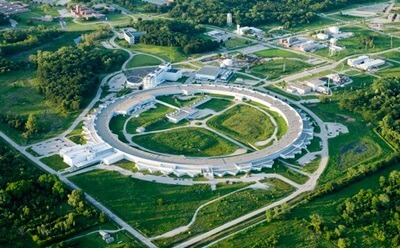 An aerial view of the Advanced Photon Source at Argonne National Laboratory.