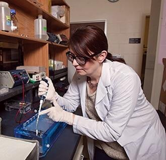 Allison Makulec loads a DNA gel.