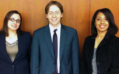 Third-year NIU Law students Samantha Brown and Daniel Kalina are pictured with their coach Professor Yolanda King. Brown and Kalina placed third in the American Bar Association's Regional Client Counseling Competition.