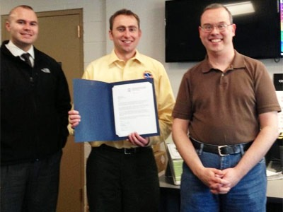 From left: Kyle Ullmark (EM specialist of the NIU Deptarment of Police and Public Safety) and NWS Chicago Lead Forecaster Matt Friedlein join NIU Staff Meteorologist Gilbert Sebenste.