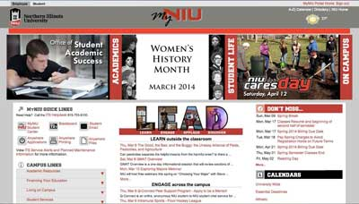 Screen capture of MyNIU portal